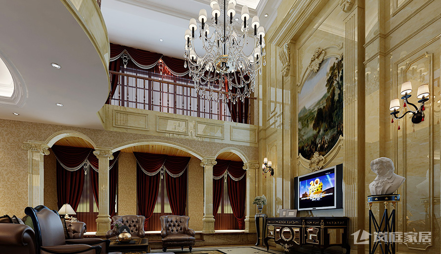 华丽的欧式风格别墅装修,大理石铺装效果明亮,大气,时尚而简约的设计